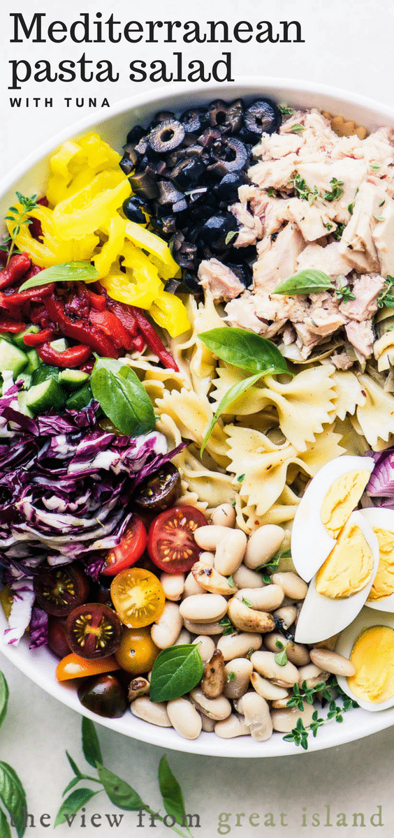 Mediterranean Pasta Salad with Tuna is a quick and healthy from the pantry meal, made with canned tuna and beans, boiled eggs, and lots of Italian flavors thrown in. #salad #pasta #healthy #easy #recipe #Italian #nomayo #pasta #potluck #tuna #meatless #healthy #cold #withItaliandressing #classic #mediterranean