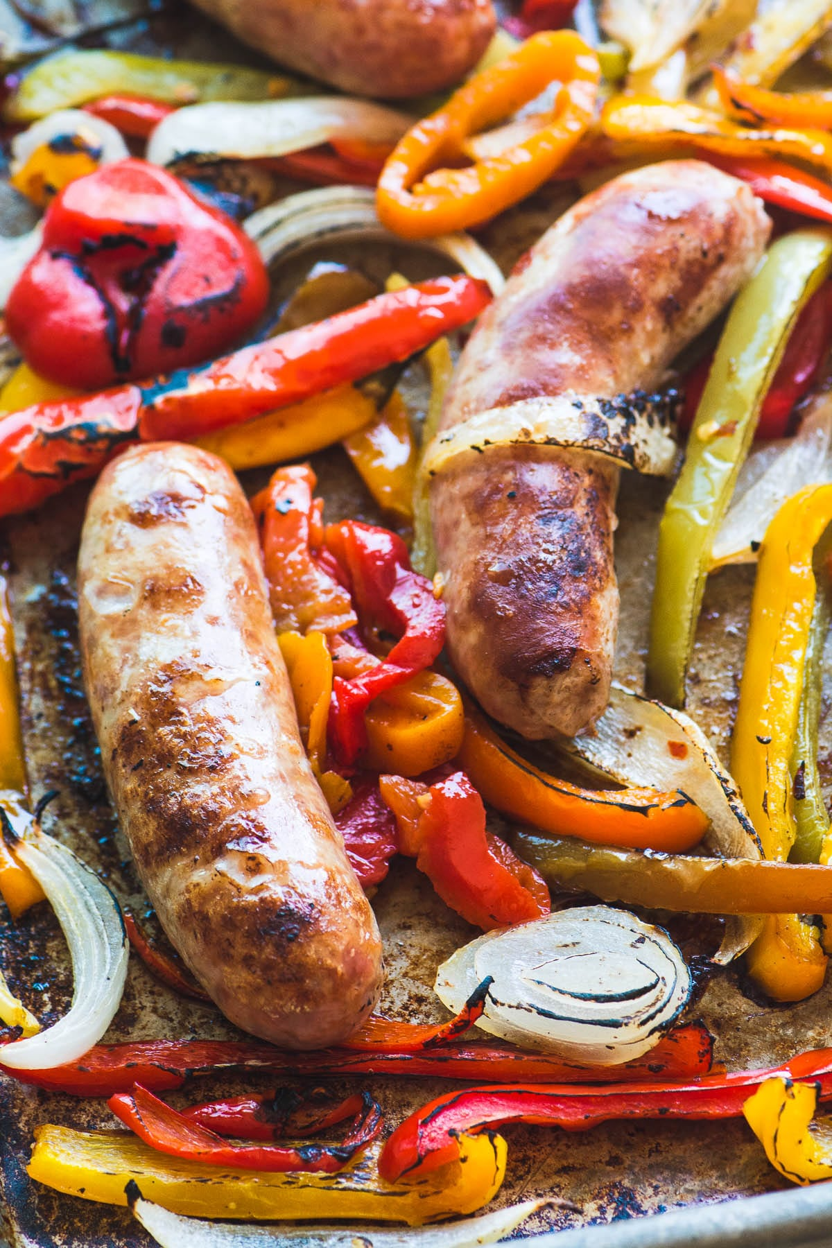 Bratwurst sausage and bell peppers for Sheet Pan Peppers and Brats