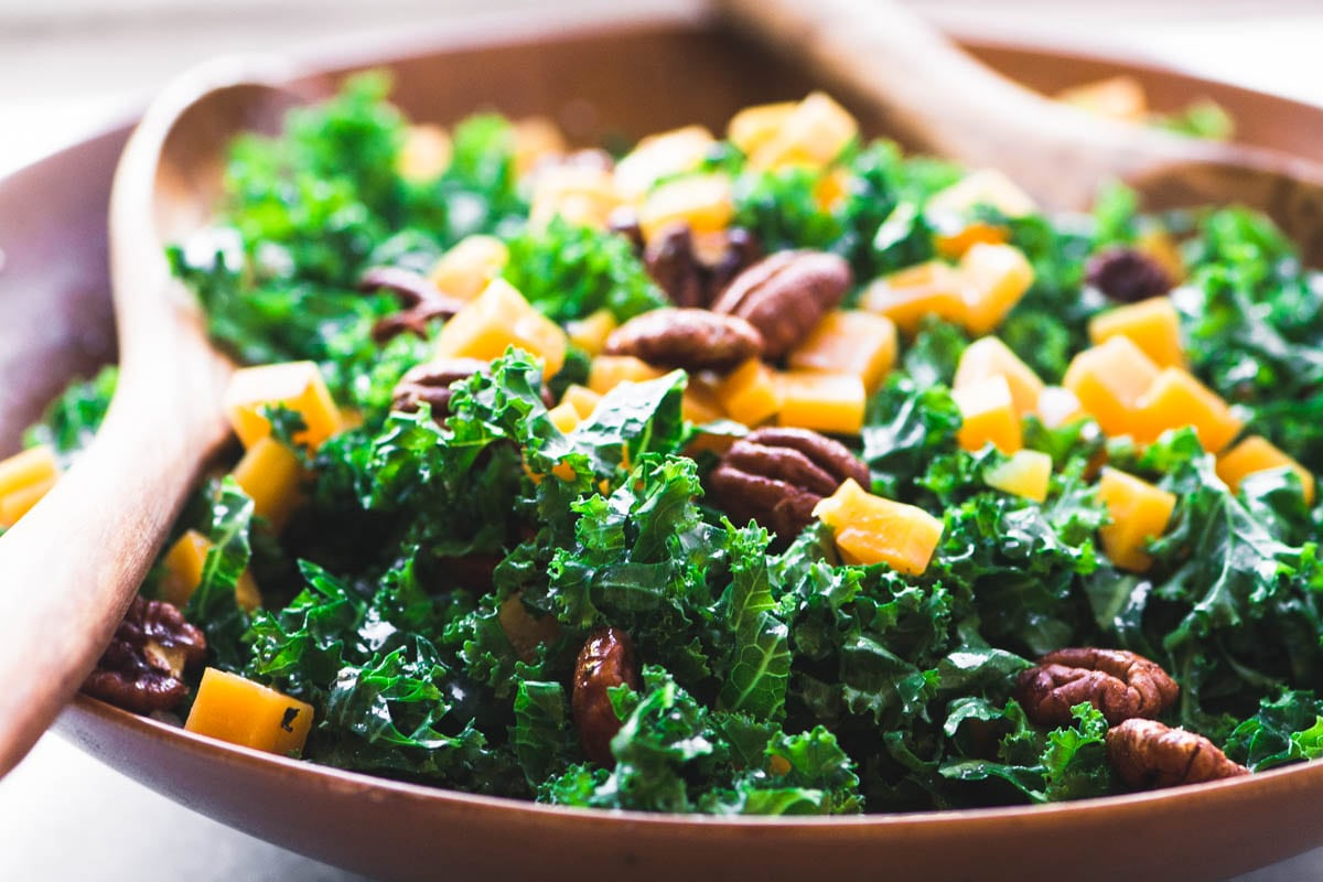kale and butternut squash salad with maple spiced pecans