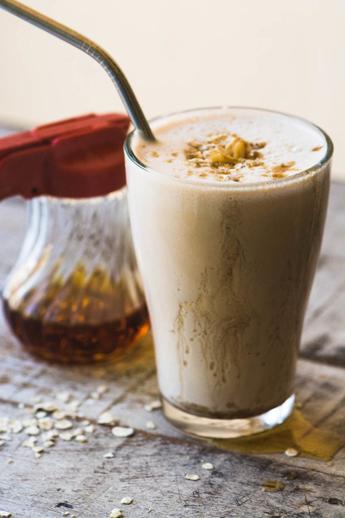 Warm Maple Oat Nut Smoothie with maple syrup