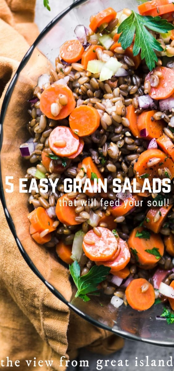 5 Easy Whole Grain Salads are hearty, healthy and vegan-friendly. They'e easy enough to pull together for a weeknight dinner, gorgeous enough for special occasions, and the leftovers make the BEST packable lunches! #healthy #sidedish #ryeberries #wheatberries #crackedwheat #bulgur #quinoa #ancientgrains #vegan #vegetarian #recipe #wildrice #blackrice #salad #wholegrain
