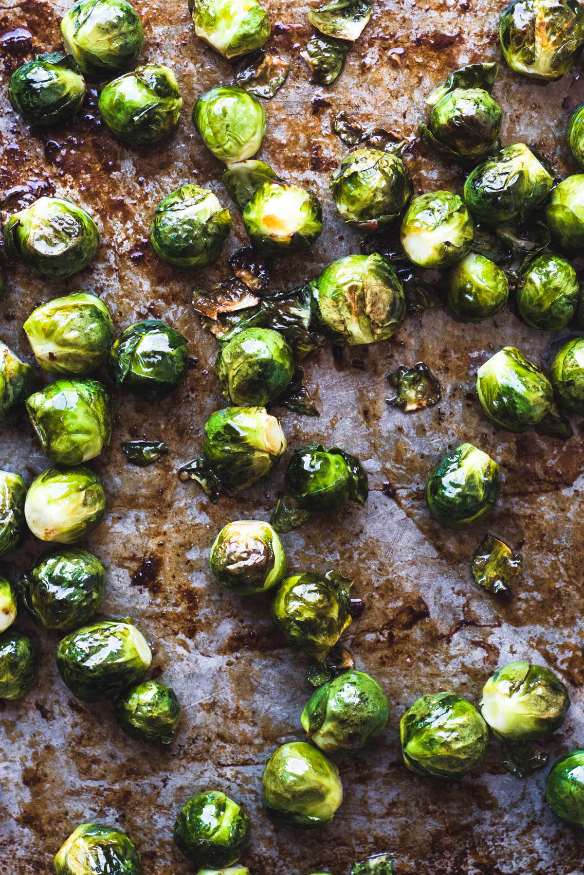 Roasting Brussels sprouts for Maple Candied Brussels Sprouts with Bacon