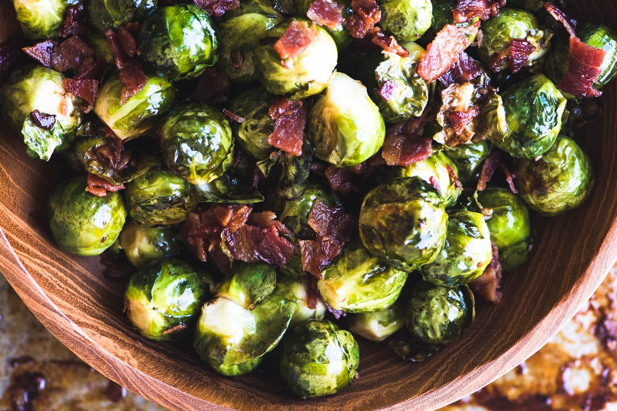 A bowl of Maple Candied Brussels Sprouts with Bacon