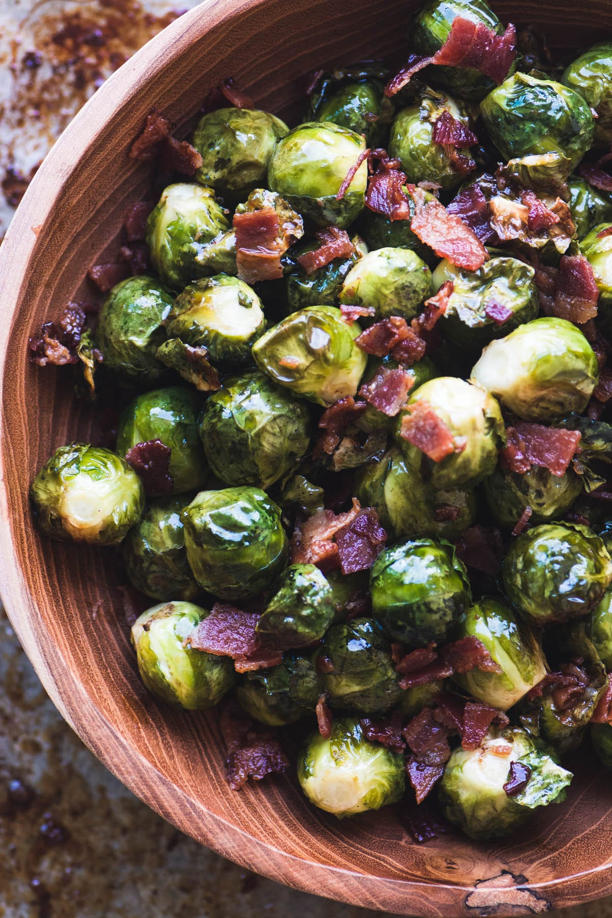 Maple Candied Brussels Sprouts with Bacon in a wooden bowl