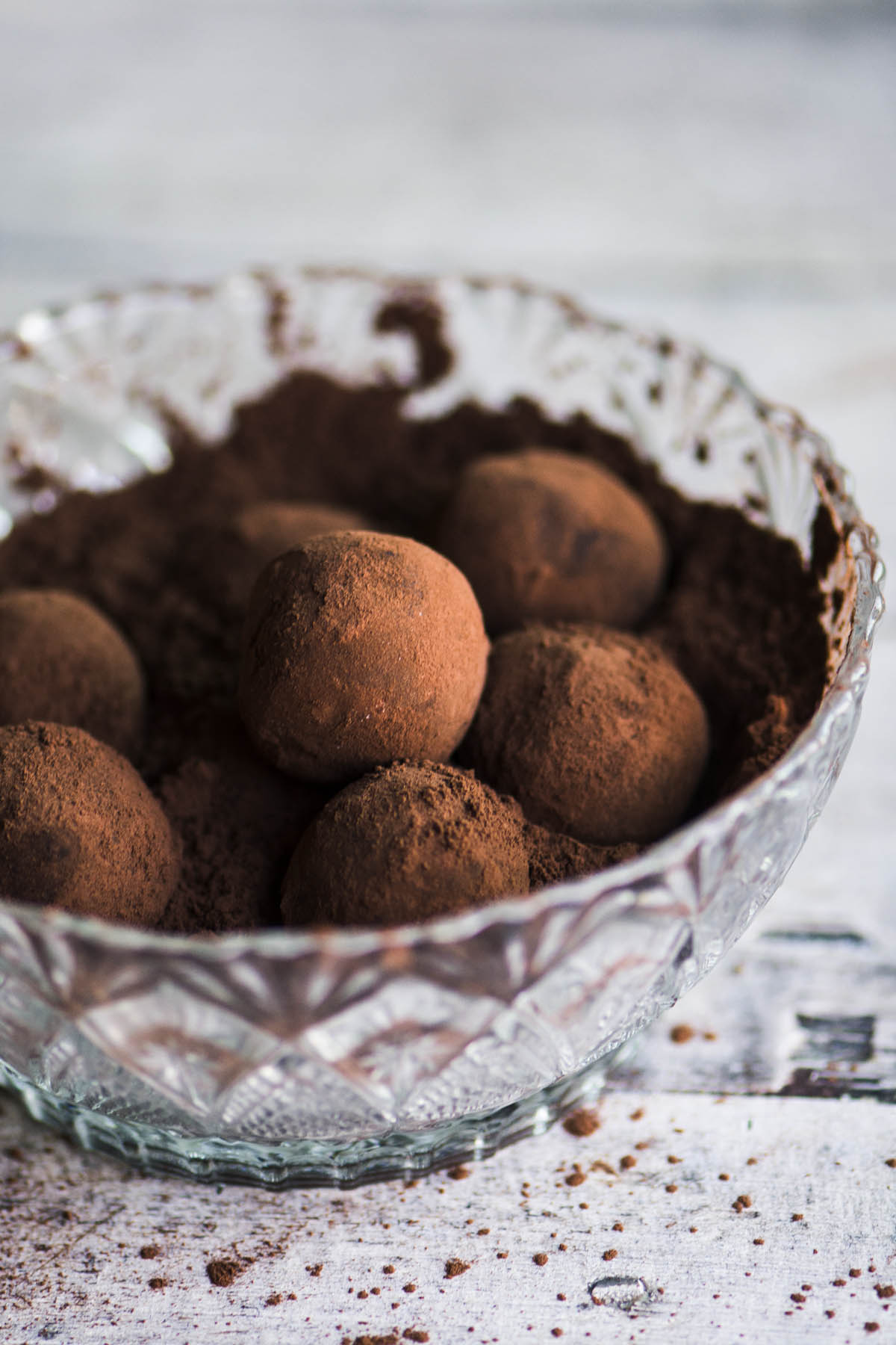 chocolate chili truffles in a glass bowl