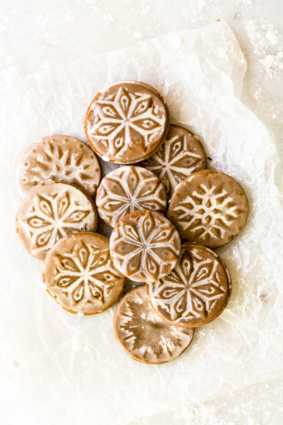 Soft Glazed Gingerbread Cookies on waxed paper