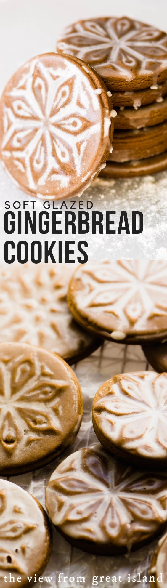 Soft Glazed Gingerbread Cookies made with cookie stamps. These easy roll out cookies will become your new holiday favorites. #cookies #ottolenghi #recipe #easy #cookiestamps #Christmascookie #gingerbread #spicecookies #gingerbread #holidaycookies #molasses #authentic #german #LEBKUCHEN