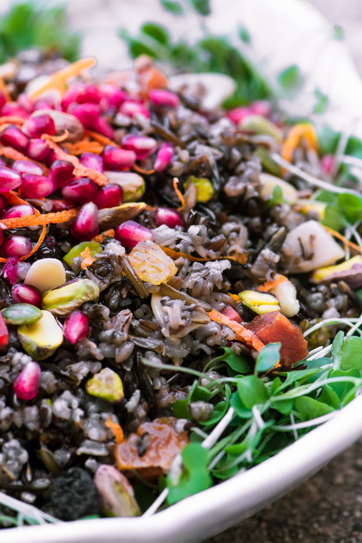 Jeweled Wild Rice Salad with microgreens and pomegranate
