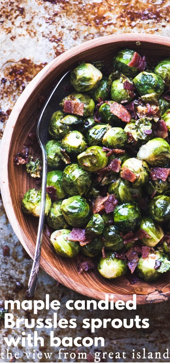 Maple Candied Brussels Sprouts with Bacon ~ tender Brussels sprouts roasted in maple syrup and a little bacon grease, topped with lots of crisp bacon bits. #brusselssprouts #sidedish #roasted #recipe #easy #Thanksgiving #fall #vegetable #bacon #maple
