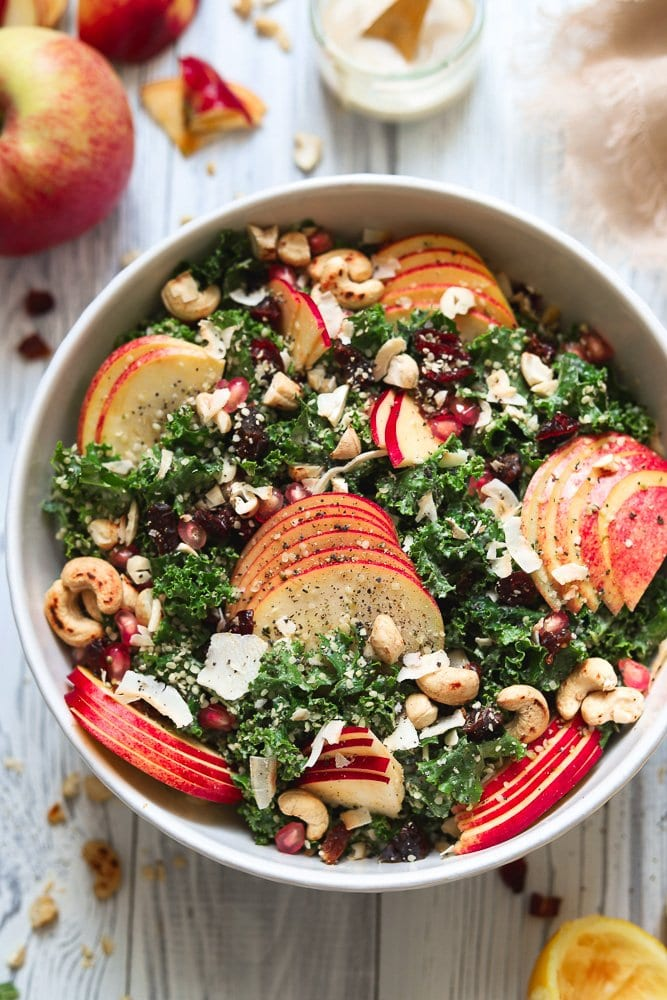 Harvest Kale Salad with sliced apples