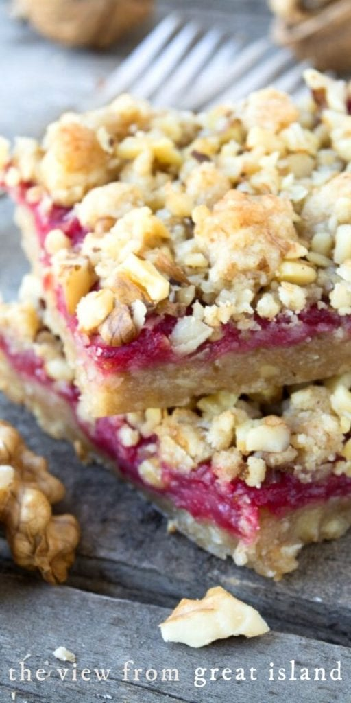 cranberry walnut bars pin