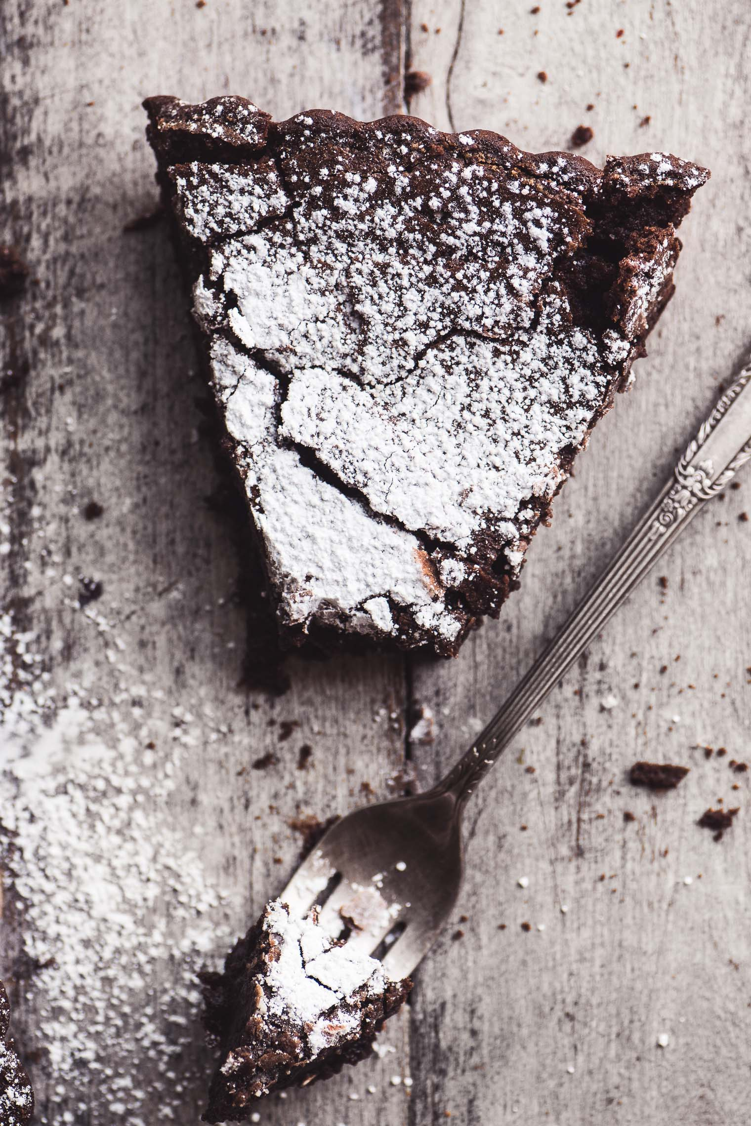 Flourless Belgian Chocolate Cake with fork