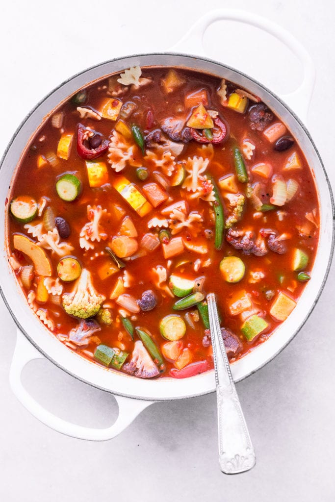 Classic Minestrone Soup in a white pot