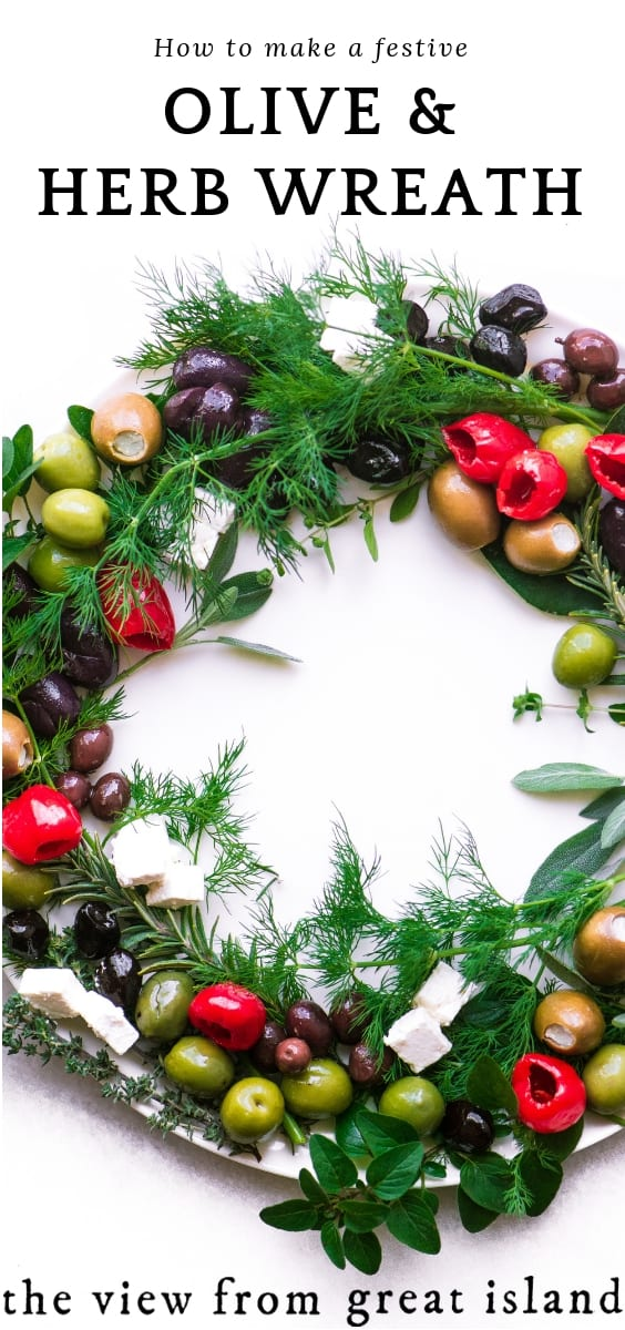 olive herb wreath pin