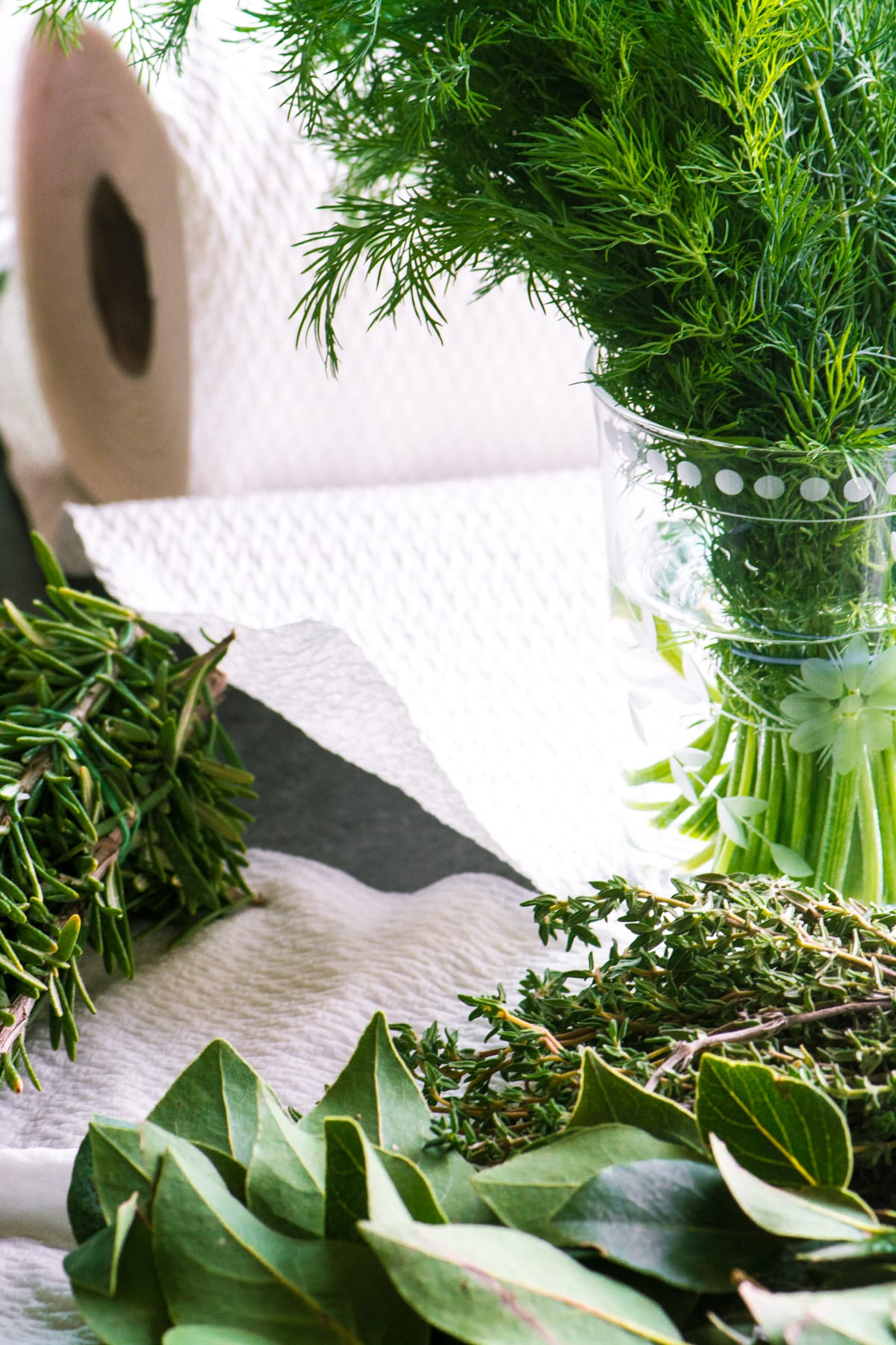 Fresh herbs for an olive and herb appetizer wreath