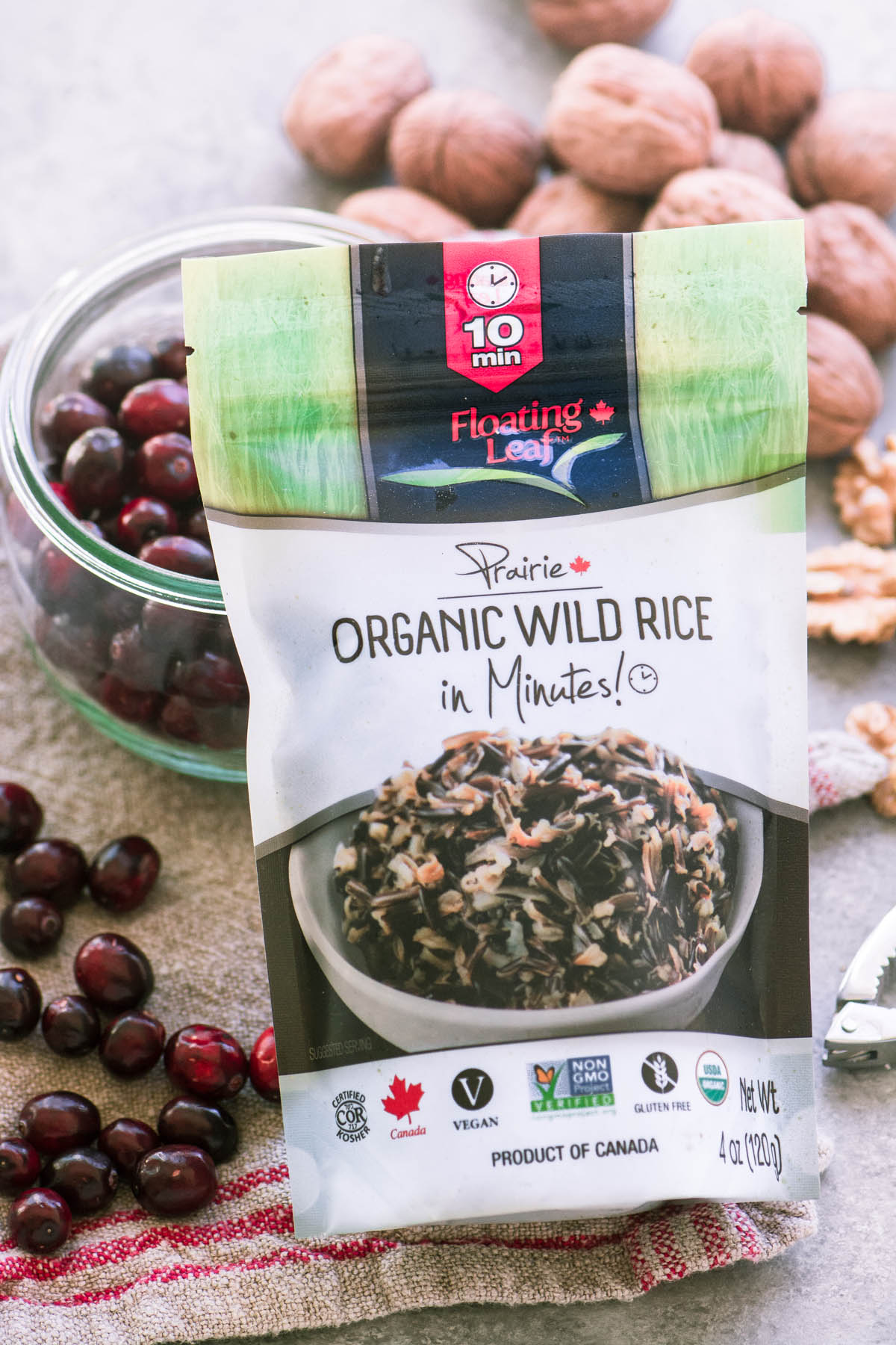 Floating Leaf Wild Rice in Minutes! with cranberries and walnuts