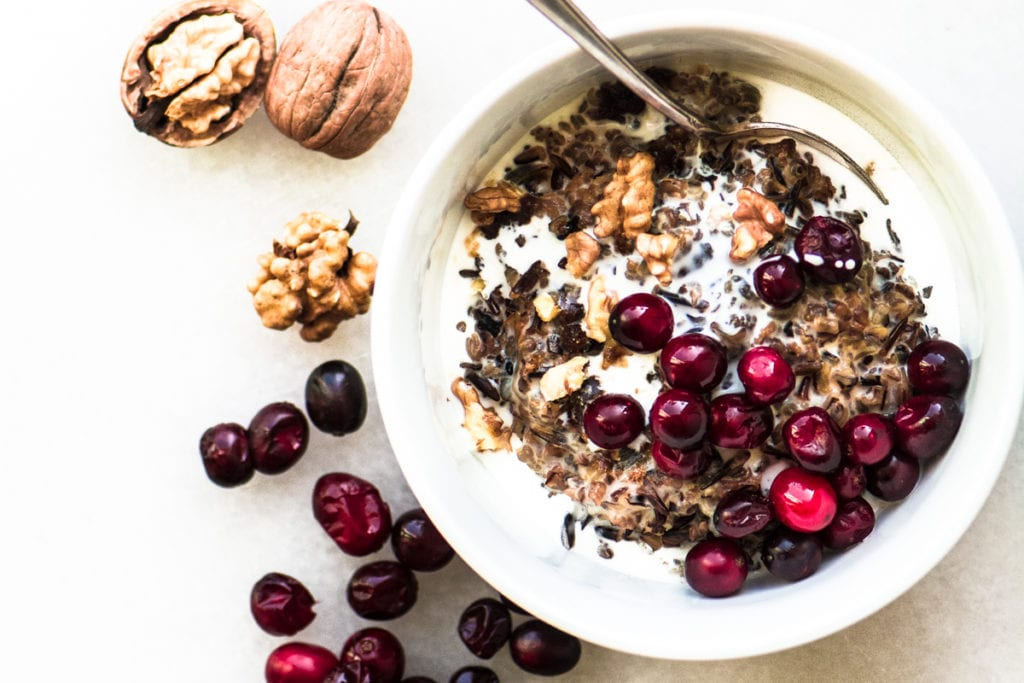 wild rice porridge with cranberries and walnuts