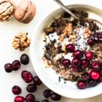 wild rice porridge with cranberries and walnuts