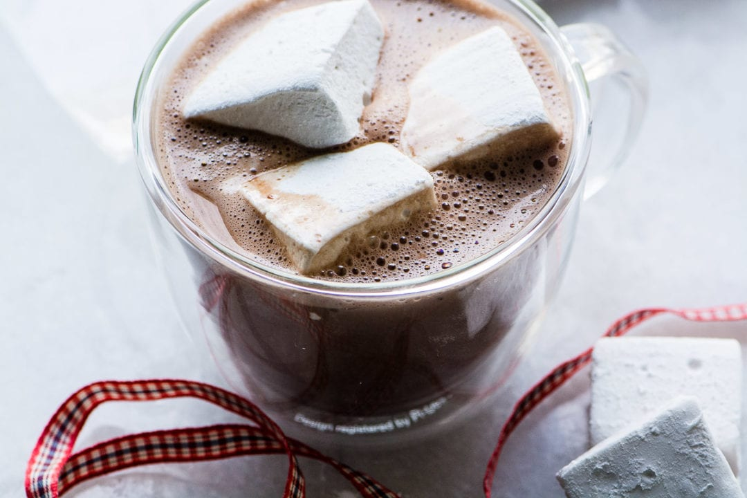 Bourbon Marshmallows in hot cocoa