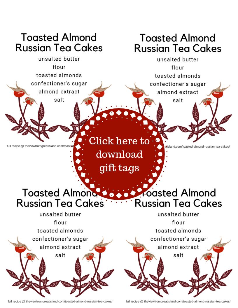 Russian tea cake cookie gift tags