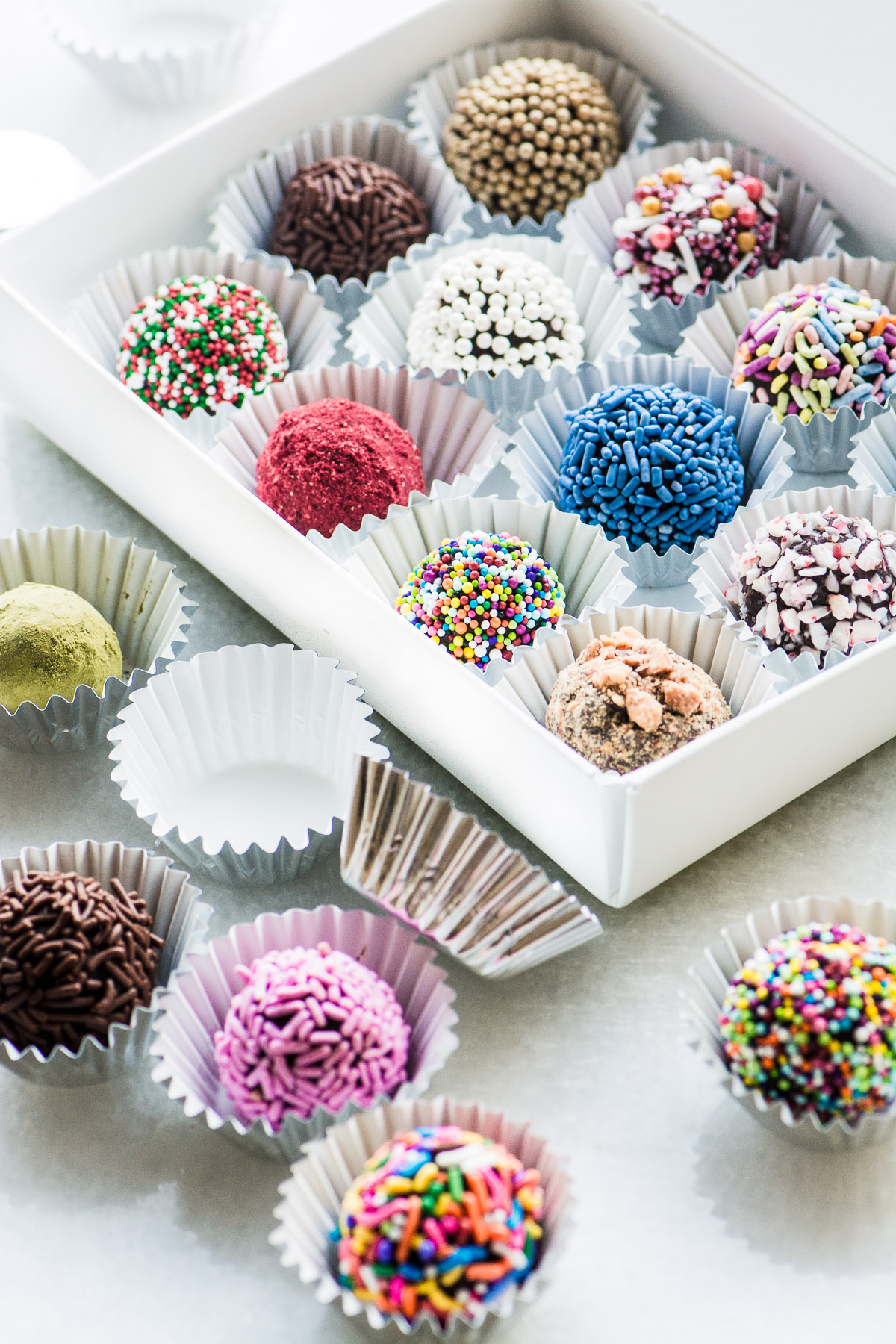 colorful chocolate truffles in a box