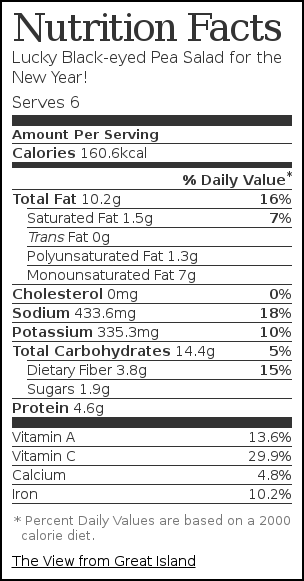 Nutrition label for Lucky Black-eyed Pea Salad for the New Year!