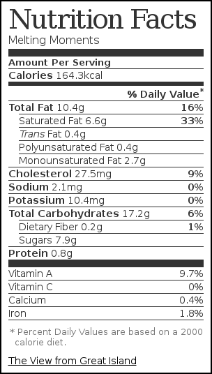 Nutrition label for Melting Moments