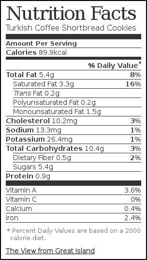 Nutrition label for Turkish Coffee Shortbread Cookies