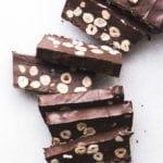 chocolate hazelnut torrone, sliced