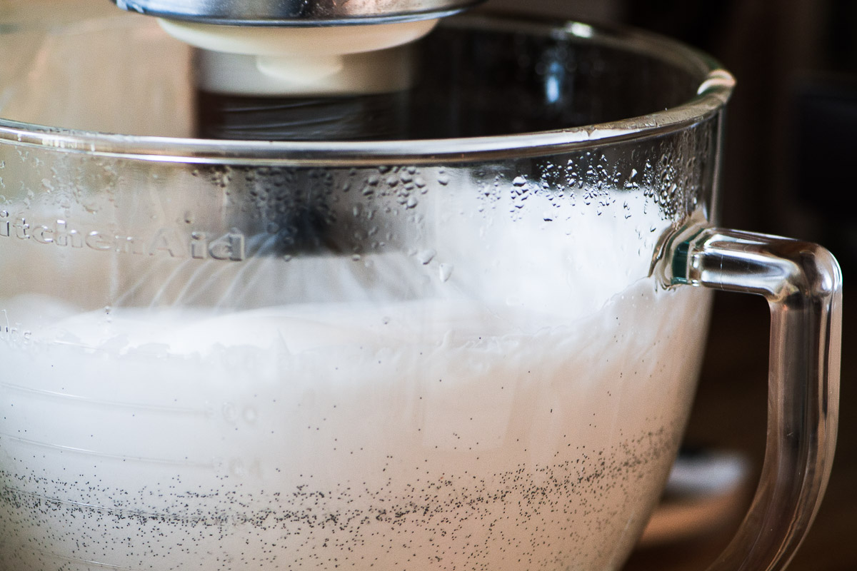 Whipping up bourbon marshmallows in a stand mixer