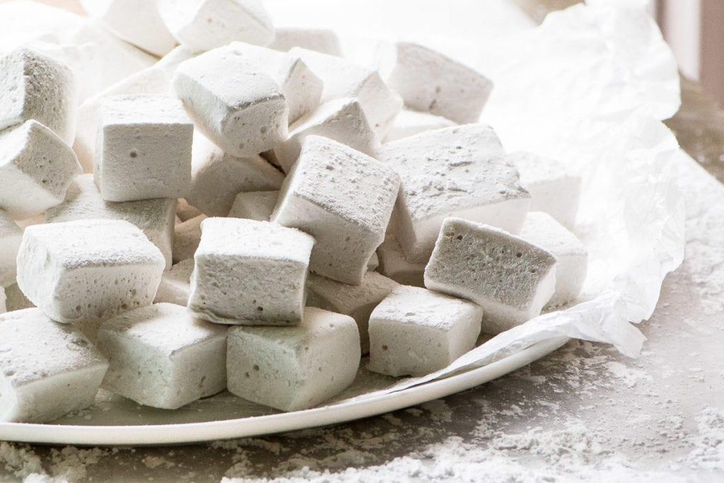 A plate of homemade bourbon marshmallows