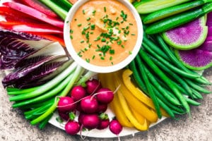 A round platter ofRainbow Crudités with Fire Feta