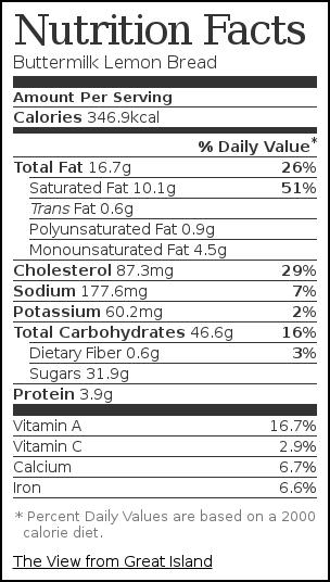 Nutrition label for Buttermilk Lemon Bread