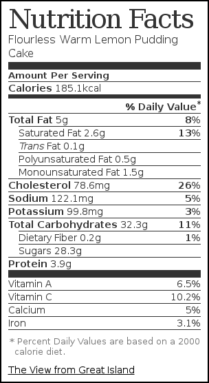 Nutrition label for Warm Lemon Pudding Cake (gluten free, or not!)