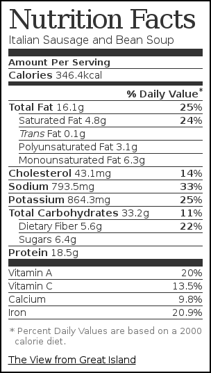 Nutrition label for Italian Sausage and Bean Soup