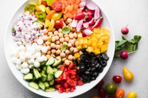 Mediterranean chickpea salad with