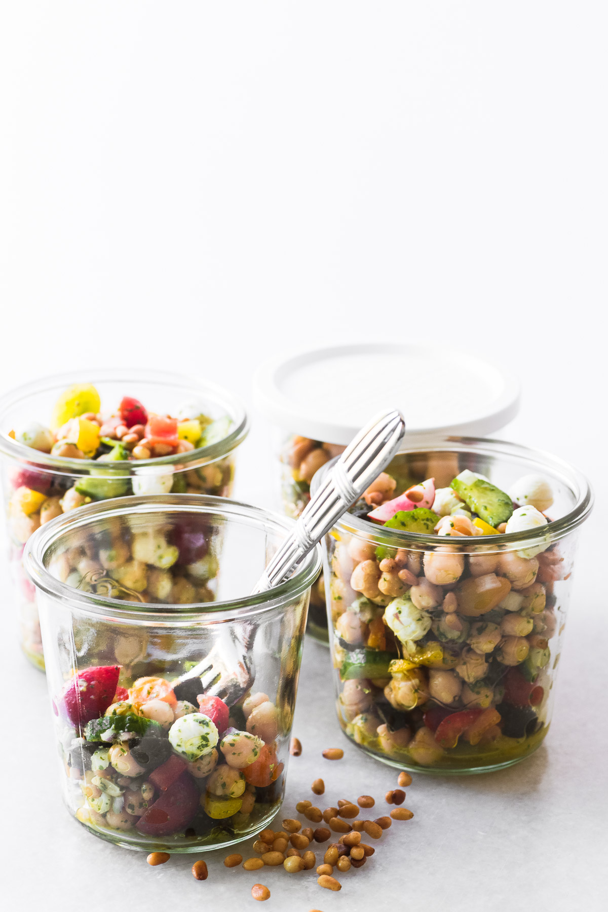 Weck Jars filled with Chickpea Salad with Pesto