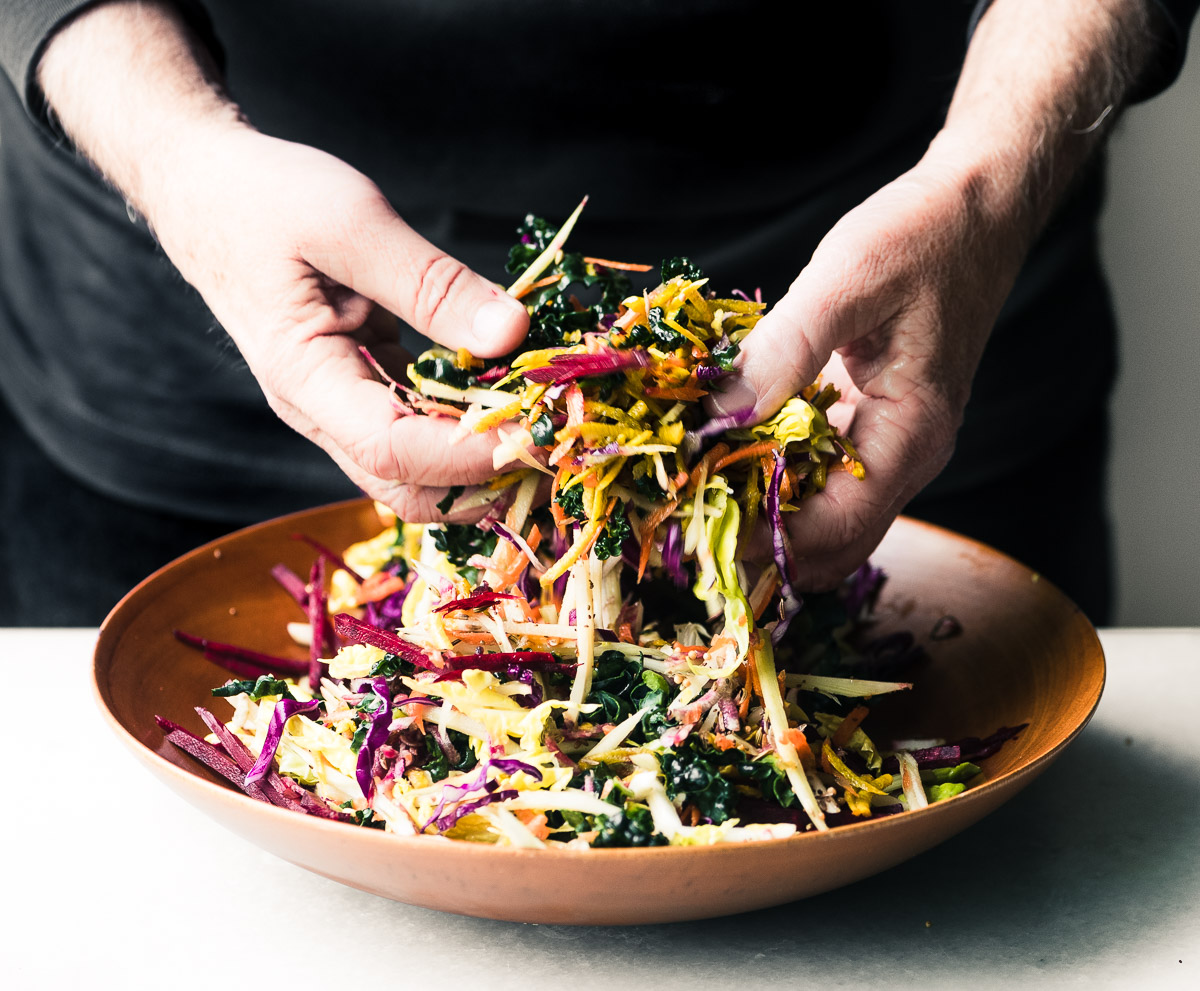 Tossing a Vibrant Winter Slaw with Citrus Vinaigrette