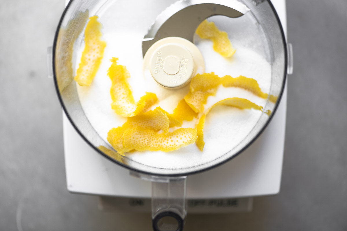 Making lemon sugar in a food processor for Buttermilk Lemon Bread
