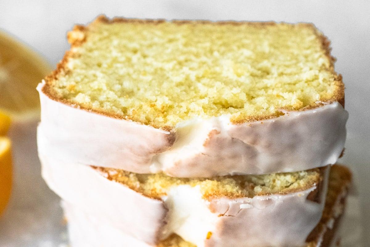 A stack of glazed Buttermilk Lemon Bread slices