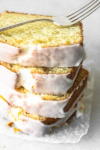 A stack of Buttermilk Lemon Bread slices
