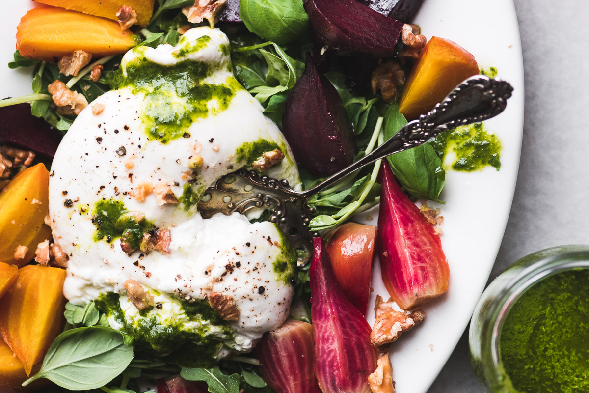 roasted beets and burrata salad