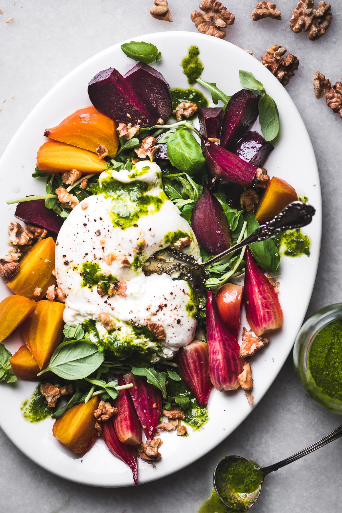 Roasted Beets and Burrata with Walnut Basil Oil