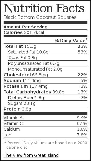 Nutrition label for Black Bottom Coconut Squares