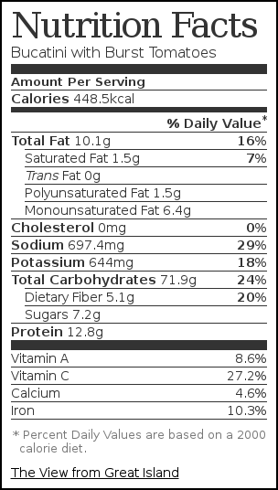 Nutrition label for Bucatini with Burst Tomatoes