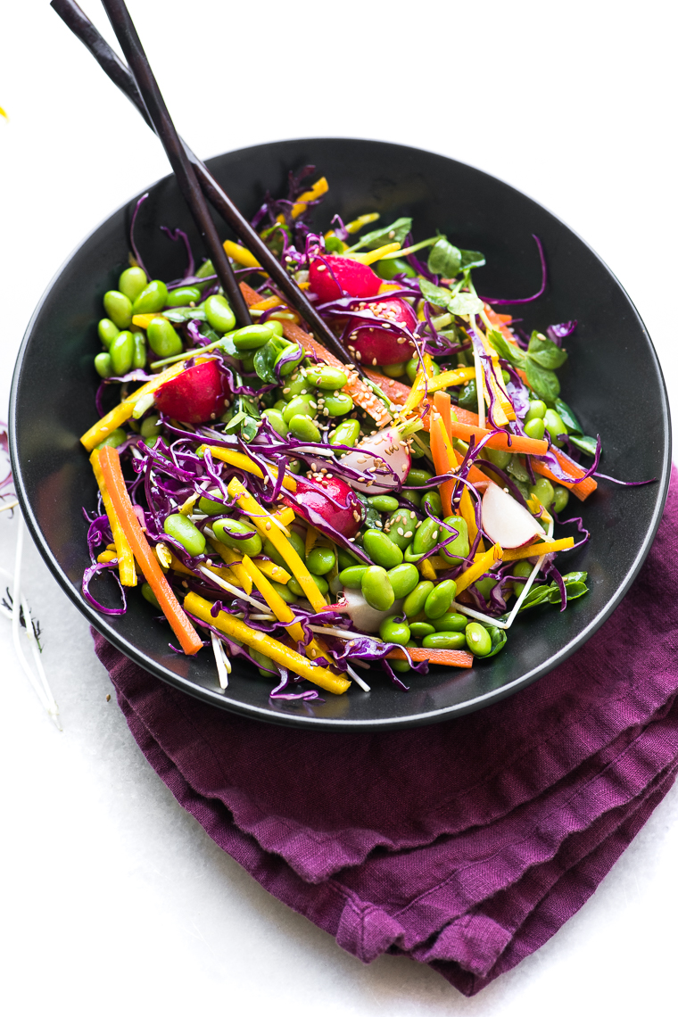 Colorful Edamame Salad in a black bowl