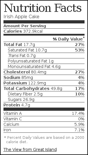 Nutrition label for Irish Apple Cake