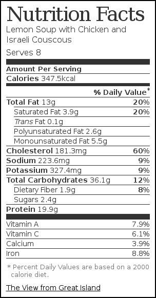 Nutrition label for Lemon Soup with Chicken and Israeli Couscous
