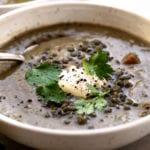 A bowl of Lentil Bone Broth Soup