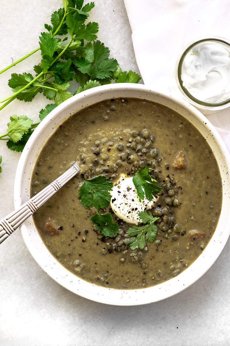 Lentil Bone Broth Soup with yogurt and cilantro